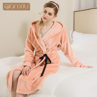 Wholesale- New Arrival Qianxiu Brand Robe Coral Fleece Pajamas Winter  Flannel Bathrobe for women Three color f808b20c9