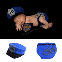 Wholesale Newborn Crochet Diaper - Newborn Baby Police Outfit Crochet Baby Police Hat&diaper with handcuffs Knitted Infant Boy Halloween Costume