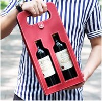 Wholesale Wine Bottle Bag Leather - Luxury Portable PU Leather Double Hollow-out Red Wine Bottle Tote Bag Packaging Case Gift Storage Boxes With Handle CCA6426 30pcs