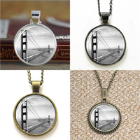 Wholesale Gate Bracelets - 10pcs San francisco golden gate bridge Glass Photo Cabochon Necklace keyring bookmark cufflink earring bracelet