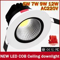 çok parlak ışıklar toptan satış-Toptan-zk50 2016 Yeni 5 W / 7 w / 9 w / 12 w Çok Parlak LED COB çip downlight Gömme LED Tavan işık Spot Işık Lambası Beyaz / sıcak beyaz