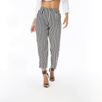 Wholesale elegant high waist trousers - Beauty Garden Fashion Women Summer Autumn Striped Trousers Female Elegant Straight High Waist Wide Leg Loose Casual Capris Pants Trousers