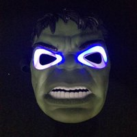 Wholesale Avengers 26cm - 20*26Cm The Hulk Luminous Face Mask Halloween Party Costumes The Avengers Movie Theme Mask Stage Performance Halloween Masks