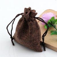bolso de lazo marrón al por mayor-Caliente ! 50 unids 7 * 9 cm Brown tela de lino bolsas con cordón de la joyería del caramelo bolsas de regalo de arpillera bolsas de yute de regalo