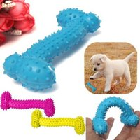 Wholesale Plastic Dog Bone Toy - Resistant To Bite Bone Dog Puppy Molars Rubber Ball Play For Teeth Training Thermal Plastic Rubber TPR Pet Dog Toys 10*4CM