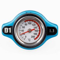 Wholesale Bar Radiators - Wholesale- New 1.3 Bar Auto Thermo Thermostatic Radiator Cap Cover with Water Temperature Gauge Universal Fit For Car