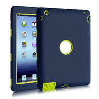 Wholesale Mixed Colorful Bag - Defender Shock Colorful Tablet Case Soft Armor Style Hybrid ipad Case Resistant Protective cover For ipad 2 3 4 Opp Bag