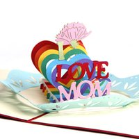 Wholesale Mom Cards - Wholesale New Vintage Kirigami 3D Laser Cut Pop Up Greeting Cards Handmade Postcards Gift Cards I Love Mom For Mother's Day