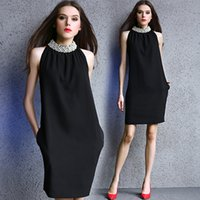 Wholesale Heavy Collar - 2017 brand women's fashion high-end was thin Slim version of luxury heavy industry pearl collar sleeveless strapless dresses