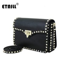 Wholesale Designer Bags Studs - Wholesale- 11 Colors Genuine Cow Leather Luxury Handbags Women Messenger Studs Rivet Bags Designer 2016 Famous Brand Crossbody Flap Bags