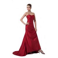 conçoit des robes de soirée de dames achat en gros de-Vintage Design Sweetheart Evening Prom Dress Corset Back Robe en taffetas rouge foncé Ladies Mermaid Style Gown