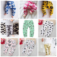 Wholesale kids boys harem pants - Baby Clothing Ins PP Pants Toddler Ins Xmas Harem Pants Kids Cotton Fashion Pants Boys Lemon Leggings Girl Fox Tights Dinosaur Fruit B2298