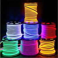 tiras llevadas impermeables brillantes al por mayor-Luces de tira LED recientemente impermeables IP65 tira de LED flexible SMD2835 120 leds ambos lados brillante alto brillo 8 colores luz de neón al por mayor 50m +