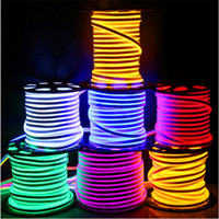 Wholesale Side Glow - Newly LED strip lights waterproof IP65 flexible LED strip SMD2835 120 leds both side glowing high bright 8 colors neon light wholesale 50m+