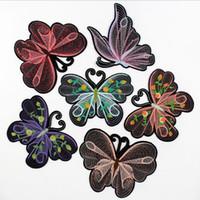 mariposa de motivos de hierro al por mayor-Hierro en remiendos para la ropa Nuevo diseño de la mariposa del remiendo del bordado DIY decoración moda militar parche
