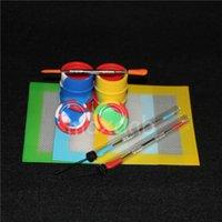 Dab jars Slicks Tool Kit with 5.51*4.52 inch Mat Pad oil barrel silicone Jars For Wax Dabbing Set