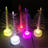 ingrosso ha portato le luci di natale c7-Regalo di Natale LED colorato cambiato Albero di colore Albero di fibra Decorazione natalizia che emette luce albero di Natale LED Light