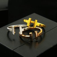 Wholesale T Steel Shaped - Hot Sale double T Shapes Ring Design 316L Titanium steel 18K Real Gold Plated Cuff Rings Cufflink Send Women valentine's day gift