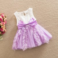 Wholesale European Lace Top - Girls summer new Cotton Lace Princess Dress baby summer party dresses European Style Top Quality Girl sleeveless Chiffon dresses