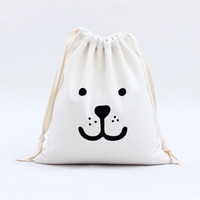 Wholesale Wholesale Beautiful Handbag - 3 Colors Pop Beautiful Animal Expression Printing Jute Linen Canvas Drawstring Totes Handbags Wedding Gift Bag 2017 New Arrival Wholesale