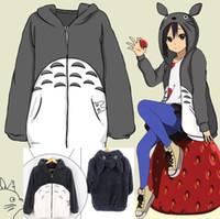 tolets totoro venda por atacado-Homens Mulheres Anime Meu Vizinho Totoro Moletom Com Capuz Casaco Cosplay Camisolas Coral Velo Casaco S M L XL 2XL Alta Qualidade