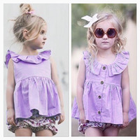 Wholesale Top Selling Children Clothes - Everweekend Baby Girls Ruffles Purple Tees Ins Hot Sell Summer Fashion Toddler Baby Clothing Cute Children Tops Blouse
