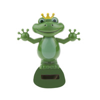 Wholesale Solar Power Gifts Dancing - Hot Sale Solar Power Dancing Frog Doll Car Interior Ornament Home Decoration Birthday Gift for Kid Children Adults Collectible