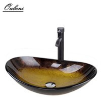 oval vanity basin - Bathroom Washbasin Countertop Tempered Glass Basin Sink Bathroom Washbasin CounterSet Brass Waterfall Faucet Washroom Vessel Vanity Bar Ship