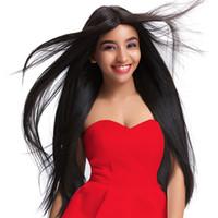 красивые длинные волосы женщины оптовых-Полный парик шнурка красивый цвет черный полный парик шнурка человеческих волос старший шелк длинные волнистые бразильские волосы девственницы 100% с челкой для женщин kabell