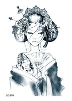 Wholesale Tattoos Chinese Eyes - Wholesale-LC2809 21*15cm Large Tattoo Sticker Chinese Sketch Vintage Girl Designs Waterproof Temporary Tattoo Stickers New Arrival