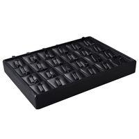 Wholesale Metal Display Hooks - Argositment 24 grid Black Rings Display Pad Jewelery Show Pallets with Hooks
