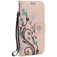 Wholesale black butterfly phone case online – custom Flower Butterfly Leather Wallet Case For Samsung Galaxy S8 Plus S7 S6 Edge J3 J5 A3 A5 A3 A5 A7 J3 J5 J7 Cards Stand Phone Cover
