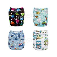 Wholesale Diapers Fasteners - Free Shipping 4pcs Pack Reusable Pocket Diapers One Size Baby Girl Cloth Nappies with 4pc microfiber insert Retail & Wholesale 4ZP04