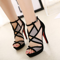 Wholesale thin red tie - N337 Summer Fashion Sexy Girl Hollow Out Gladiator Platform Thin High Heels Woman Sandals Peep Toe Woman Party Wedding Shoes