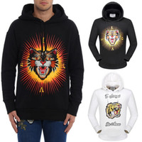 Wholesale Black Tiger Cat - Men Hot Sale Hooded Sweatshirt With Embroidered Angry Cat Tiger And 3D Printed Effect Sweat Hoodie Pullover Men's Brand Desgin