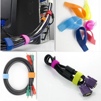 Wholesale 100pcs Colorful Reusable Nylon Magic Tape Hook Loop Cable Cord Ties Tidy Straps Organise Size cm cm