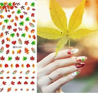 Compra Decalcomanie A Nastro Foglia-All'ingrosso-DS090 Nail Design trasferimento dell'acqua Nails Art Sticker Sexy Colorful Maple Leaf Nail Sticker Avvolge punte Manicura chiodo fornisce Decal