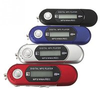 Wholesale Kids Radio Player - Wholesale- Small Size MP3 Players USB 2.0 Flash Drive Memory Stick LCD Mini Sports MP3 Music Player with FM Radio Kids Christmas Gift