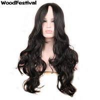 Wholesale Long Cheap Red Hair Wig - WoodFestival ladies red black blonde wig curly synthetic hair wigs women cheap fiber hair realistic long wavy wig cosplay