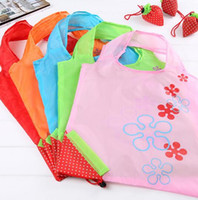 Wholesale foldable reusable grocery bags - cute Strawberry Shopping Bags Foldable Tote Eco Reusable Storage Grocery Bag Tote Bag Reusable Eco-Friendly Shopping Bags KKA1987
