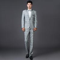 Wholesale Men S Suits Plaid - Grey fashion plaid formal dress set men suit latest coat pant designs mens suits with pants wedding suits for men suit + pant + tie S -