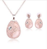 Crystal, Rhinestone black stone jewlery - Cat s Eye Stones Necklace Earring Set Oval Pink Bridal Jewlery Sets For Women Earrings With Stones Statement Necklace