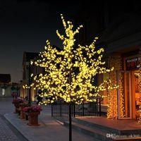 árbol de cerezo llevado al por mayor-Hecho a mano Artificial LED Cherry Blossom Tree luz de la noche Nuevo año Christmas wedding Decoration luces 80cm LED luz de árbol
