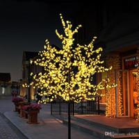 lumières led de fleurs de cerisier achat en gros de-Lumière artificielle de nuit d'arbre de fleur de cerisier de LED Nouvel an Décoration de mariage de Noël allume la lumière d'arbre de LED de 80cm
