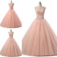 Wholesale special occasion dresses for girls online - Blush Pink Quinceanera Dresses Ball Gown Jewel Neck Beaded Tulle Floor Length Pageant Gowns For Girls Special Occasion Prom Dresses