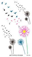 Wholesale flying birds art - RC2252 Waterproof Tattoo Sticker Colored Dandelion Birds Flying Temporary Tattoo Foil Decal Body Art Fake Tattoo Sticker