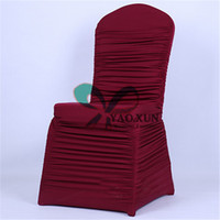 Wholesale Nylons Spandex Chair Covers - All Ruffled Lycra Spandex Chair Cover FreeShipping For Wedding Decoration