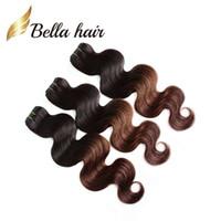 kraliçe saç ürünleri perulu vücut dalgası toptan satış-Kraliçe Saç Ürünleri 2 Ton Ombre Örgüleri Perulu Omber Saç Vücut Dalga İnsan Saç Atkı Yeni Yıldız T Renk HairExtensions DHL Ücretsiz Kargo