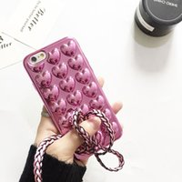 корпус телефона в форме сердца оптовых-Mari Gold Plating Heart-Shaped Jelly Phone Back прозрачный чехол для iPhone 7 6 Plus красочный жесткий прозрачный чехол для смартфона