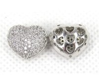 Wholesale Love Crystal Connectors - Zircon heart hollow out crystal beads connector jewelry